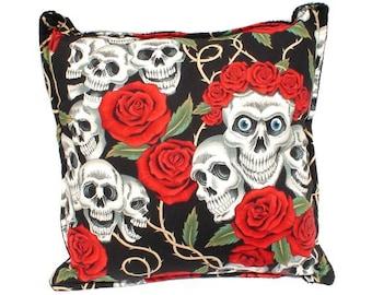 Skulls & Roses Tattoo Art Throw Pillow Cover/Pillow Case 18 x 18