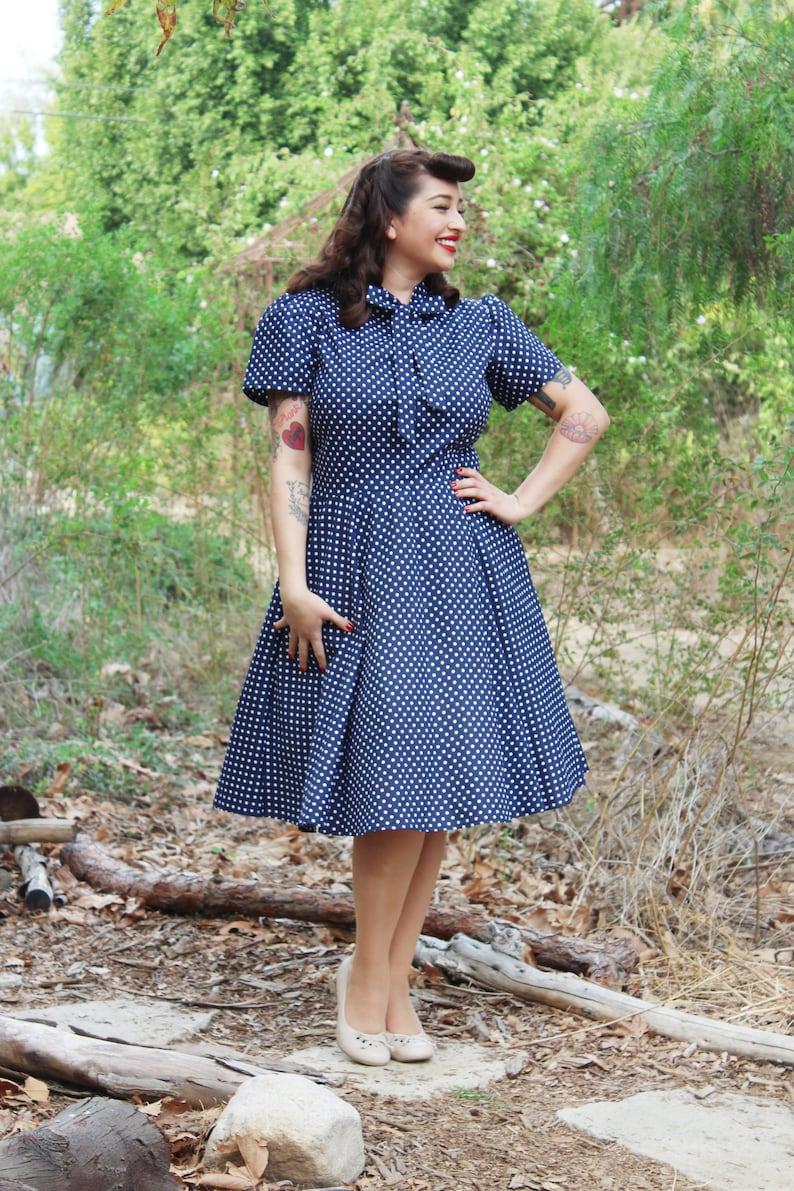 Pin Up Girl Costumes | Pin Up Costumes I Love Lucy Inspired Circle Dress - Blue Pin Up Polkadot Circle Dress $59.95 AT vintagedancer.com