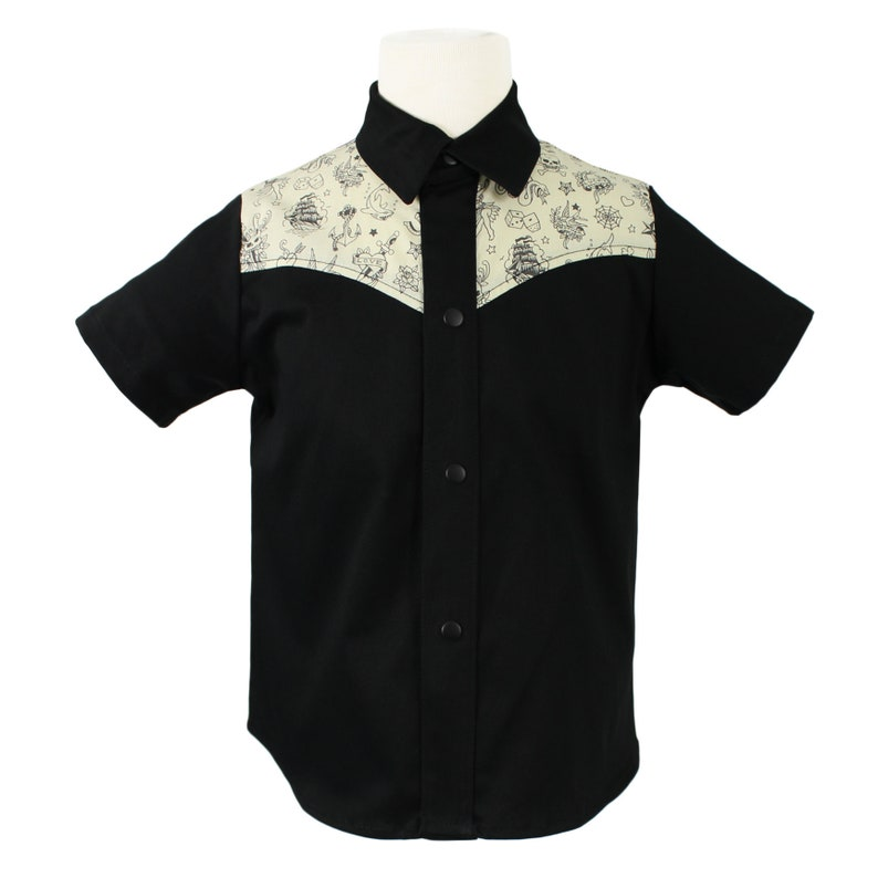 Kids 1950s Clothing & Costumes: Girls, Boys, Toddlers Boys Rockabilly Tattoo Western Top in Black and Cream $26.95 AT vintagedancer.com