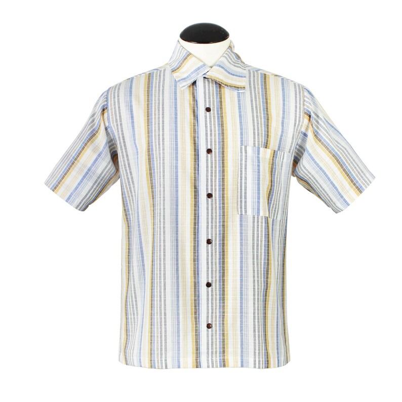 1950s Men's Clothing Mens Vintage Inspired Vertical Stripe Short Sleeve Shirt S-4XL $41.95 AT vintagedancer.com