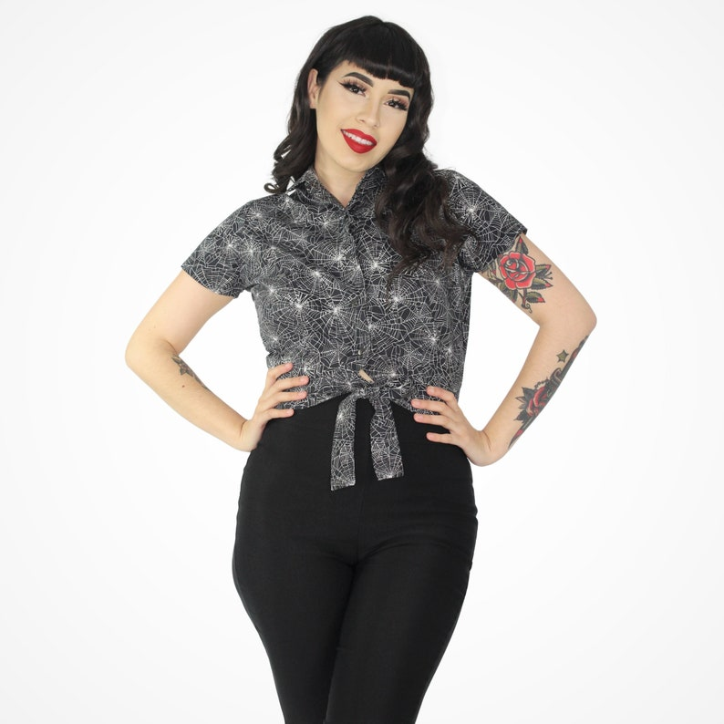 Easy Retro Halloween Costumes – Last Minute Ideas Spider Web Knot Top XS-4XL $41.95 AT vintagedancer.com