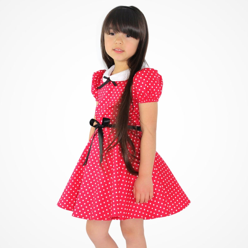 Kids 1950s Clothing & Costumes: Girls, Boys, Toddlers Girls Red and White Polka Dot Dress / Minnie Mouse Inspired Dress $34.95 AT vintagedancer.com