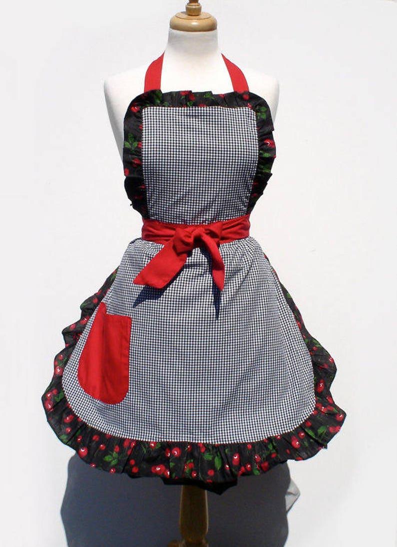 Vintage Aprons, Retro Aprons, Old Fashioned Aprons & Patterns Plus Size Gingham and Cherries Retro Kitchen Apron $42.95 AT vintagedancer.com