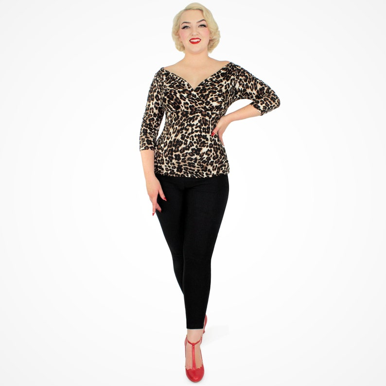 1950s Women's Outfit Inspiration Leopard Three Quarter Sleeve Overlap Top XS-2XL $29.50 AT vintagedancer.com
