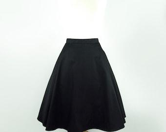 Vintage Inspired Circle Skirt, Black  Full  Circle  Skirt