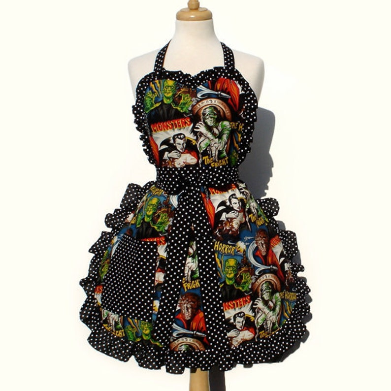 Retro Horror Movie Hollywood Monsters Vintage Inspired Apron image 0