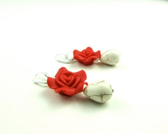 Handmade Red  Flowers and White Droplet Earrings