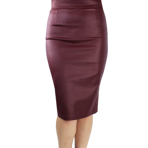unbeatable price discount best quality Fitted Faux Leather Pencil Skirt in Burgundy