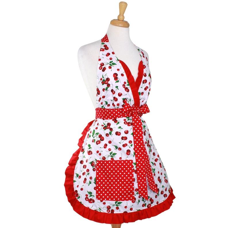 Vintage Aprons, Retro Aprons, Old Fashioned Aprons & Patterns Retro Cherry Christmas Apron - Mrs. Claus Cherry Pie Holiday Retro Apron $28.95 AT vintagedancer.com