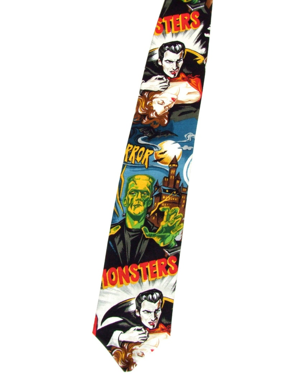 1930s Men's Clothing Hollywood Monster Vintage Horror Movie Pinup Frankenstein Mummy Necktie Mens tie $24.99 AT vintagedancer.com