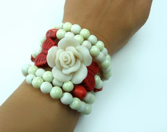 Beautiful Day of the Dead Skull Pearl White Rose Butterfly Wrap Around Memory Bracelet, Jewelry