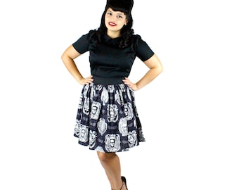 ON SALE!!! Classic Monster Portraits Pleated Skirt