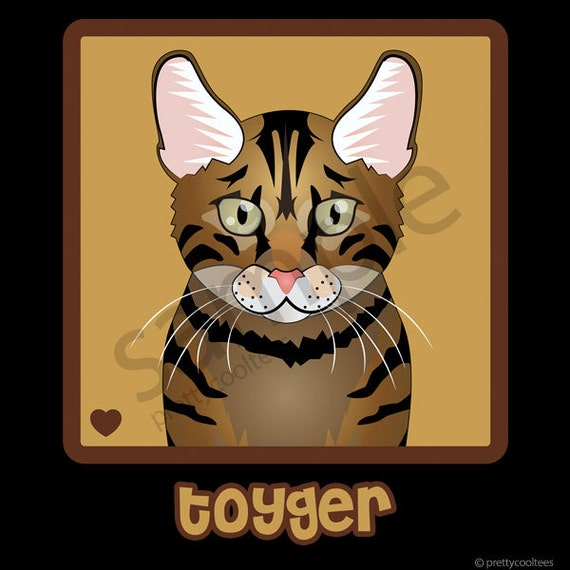 Toyger Cat Cartoon Heart T-Shirt Tee - Men's, Women's Ladies, Short, Long  Sleeve, Youth Kids