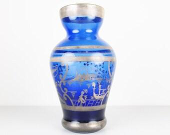 Vintage Cobalt Blue Glass Vase with Silver Overlay, Gondola Scene