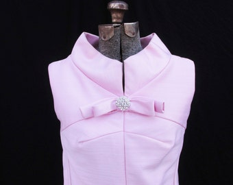 Vintage 1960s Pink Shift Dress with Rhinestone Embellishment, M/L