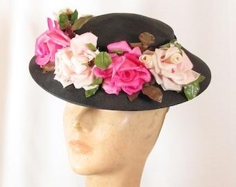 Vintage Black Tilt Hat with Pink Roses