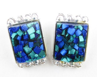 Vintage Blue and Green Lucite Earrings, Signed PAM