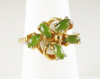 Vintage Cocktail Ring: 18k HGE Ring with Green Stones