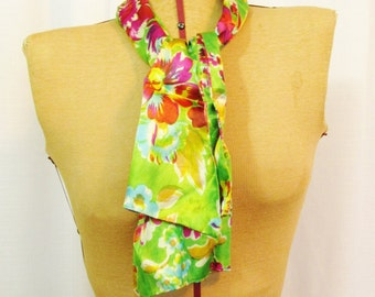 Vintage Scarf: Lime Green with Pink Flowers