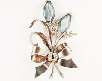 Large Vintage Sterling Flower Brooch with Blue Stones