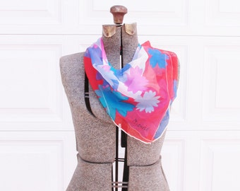 Vintage Chiffon Scarf with Pink and Blue Flowers, Signed Michele