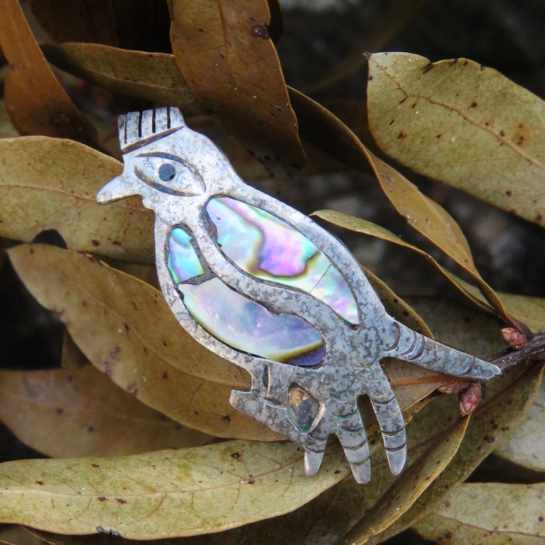 Vintage Taxco Sterling and Abalone Bird Brooch image 0