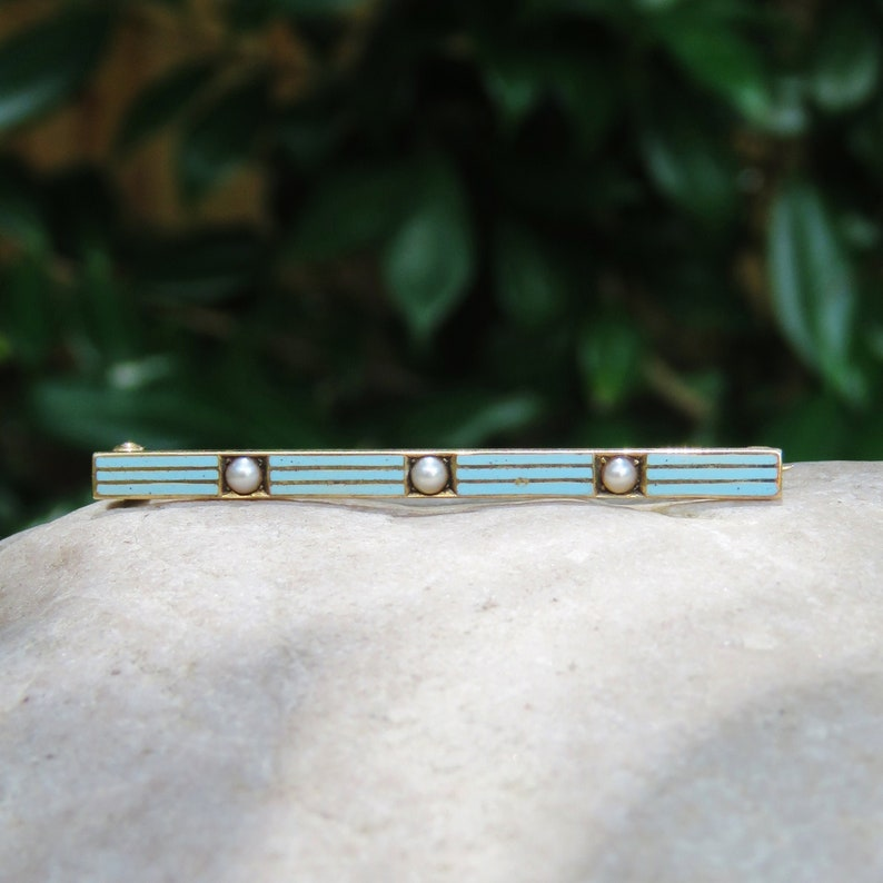 Vintage 14k Gold Bar Brooch with Blue Enamel and Seed Pearls image 0