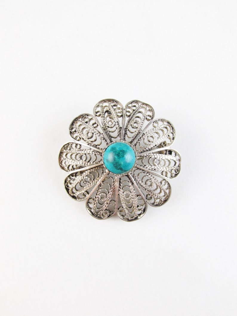 Vintage Sterling Filigree Flower Brooch with Turquoise image 0