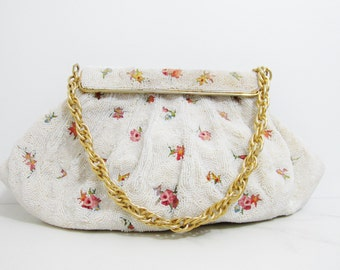 Vintage Purse: Beaded Michel Swiss with Floral Embroidery