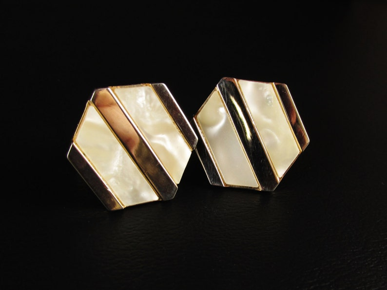 Vintage Hexagon Cuff Links with Mother of Pearl Stripes image 0