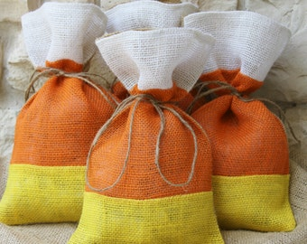Burlap Gift bags, Halloween, Candy Corn, Thanksgiving, Farmhouse, Set of FOUR, As seen in Country Living October 2014! Treat Bags, Orange.