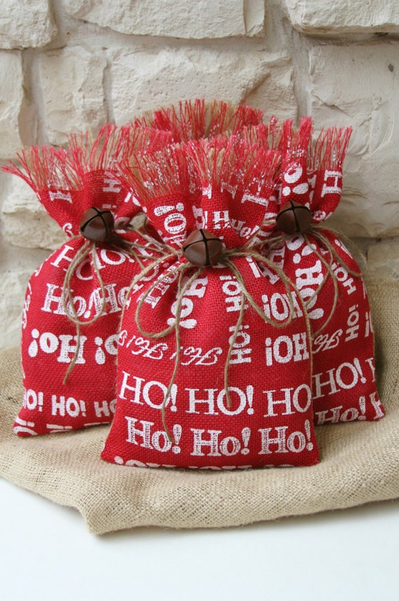 items similar to burlap gift bags shabby chic christmas wrapping red white and natural ho ho. Black Bedroom Furniture Sets. Home Design Ideas