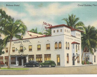 Vintage Florida Linen Postcard Coral Gables Solana Hotel Alhambra Circle UNUSED