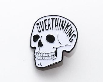 Overthinking Enamel Pin. Glow In The Dark Skull Pin. Anxiety