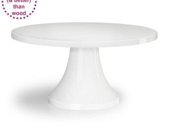 White Cake Stand | 14-inch 16-inch | White Wedding Decor | Dessert Bar | Round Cake Plate | - As seen in Martha Stewart Brides u0026 The Knot  sc 1 st  Etsy & White cake plate | Etsy