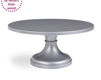 Silver Cake Stand | 14inch 16inch 18inch | Free Shipping | Round Cake Plate | Wedding Cake Pedestal - As seen in Martha, Brides, & The Knot