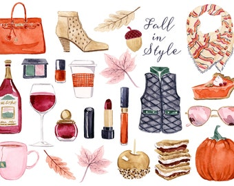 Watercolor Clip Art Graphics - ClipArt,Fall,smore,Caramel Apple,Autumn Leaves,Pumpkin Pie,Nail Polish,Lipstick,Sunglasses,Wine,Ankle Boots