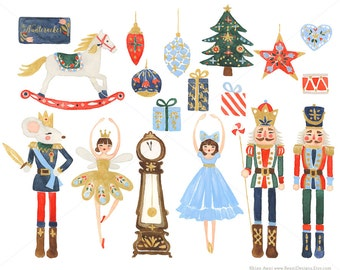 Nutcracker Clip Art for personal and commercial use - Christmas Watercolor Holiday Clipart Ballet Rocking Horse Sugar Plum Fairy Russian