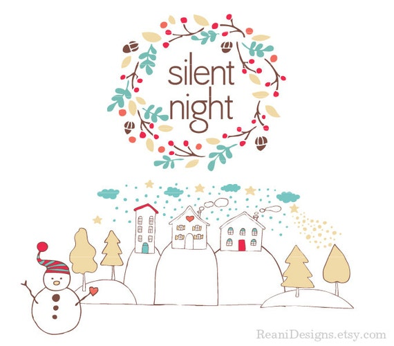 silent night clipart for personal and commercial use etsy rh etsy com Christmas Images Religious Silent Night Graphic Religious Silent Night
