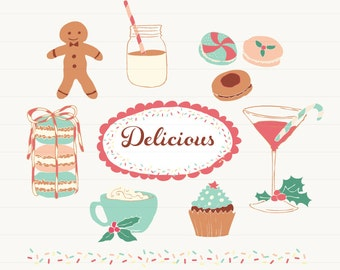 Holidays Desserts and Drinks Clipart for personal commercial use - Clip art Christmas Martini Macaroons Cupcake Eggnog Cookies Ginger Bread