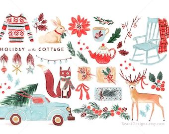 Holiday in the Cottage - Clip Art for personal and commercial use - Clipart Chevy Truck Christmas Ugly Christmas Sweater Rocking Chair