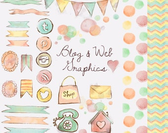 Watercolor Blog and Web Graphics Clipart - Social Media Icons Twitter, Pinterest, RSS, Instagram, Banner, Chevron, Polka Seamless Background