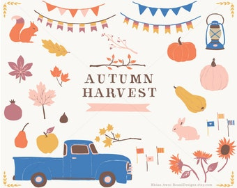 Autumn Harvest - Chevy Truck Clip Art Vintage Chevy Truck Pumpkin Pear Apple Fig Pomegranate Banners Lantern Fall Leaves Tree Branches Bunny