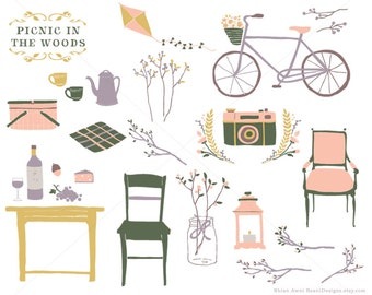 Flower Rustic Wedding Clipart Picnic Woods Clip Art Hand Drawn Bike Louis Chair Food Kite Floral Camera Botanical Tea Coffee Kettle Vintage