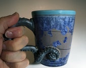 Octopus tentacled tea or coffee cup purple gray silver crystalline fired glaze by Hong Rubinstein