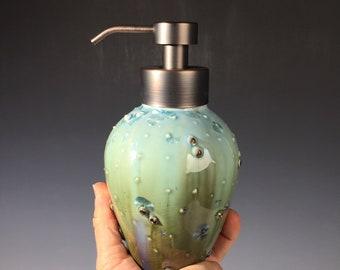 Foam Soap Pump, Caribbean Blue Fade Crystalline Glaze Bronze Foam Top