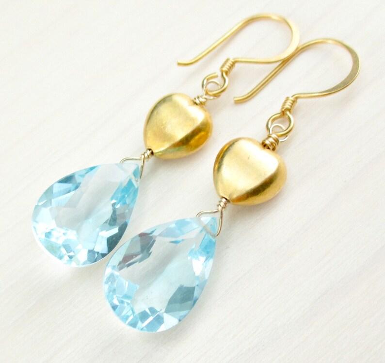 901e1f3a157c Cielo azul cuarzo aretes de oro pendientes de corazón de oro