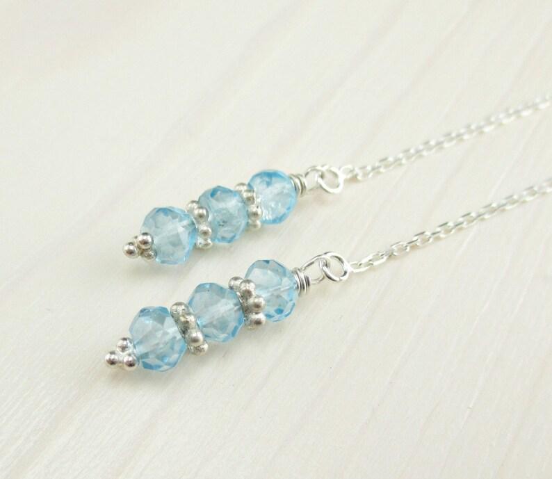 f64ee6279dcd Cielo azul topacio enhebrador pendientes pendientes de plata