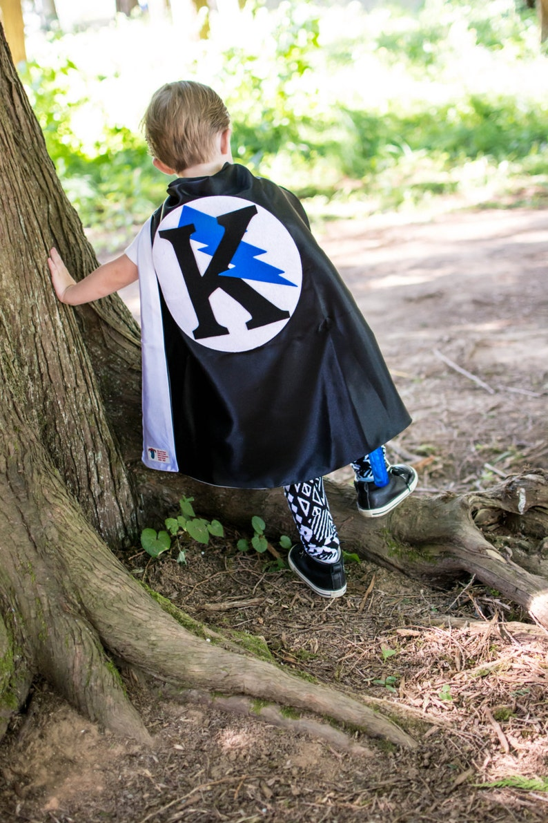 7T 2T Custom Easter Superhero Cape Personalized Letter Blue Bolt Black and White color options birthday party favor fast delivery