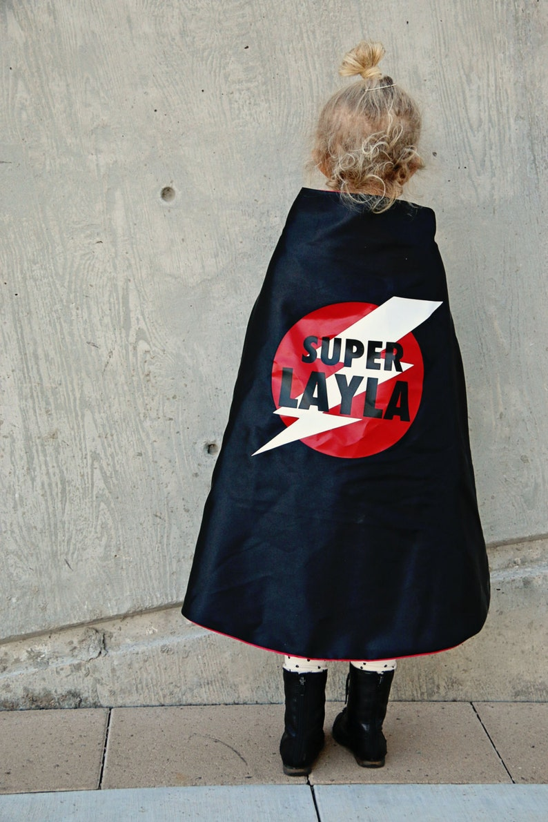 7T Superhero Cape Personalized Name Lightening Bolt Custom Colors super hero costume girl toy fast delivery Worldwide 2T